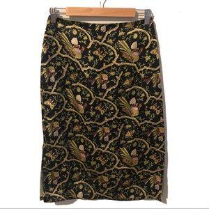 Betsey Johnson Vintage 90's Floral Bird Silk Skirt